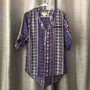 Blue and orange pattern blouse